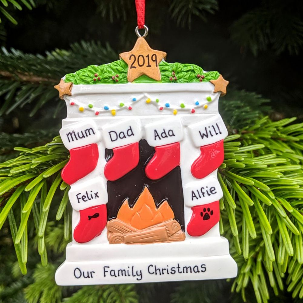 Fireplace with 6 Stockings - Personalised Family Christmas Decoration - Personal Xmas Gift/Keepsake